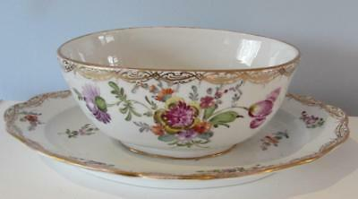Antique 19th Century Meissen Hand Painted Dish with Integral Base