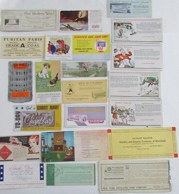 Lot Vtg Advertising Ink Blotters Allerton Hotel Scripto Pencils Standard Oil etc