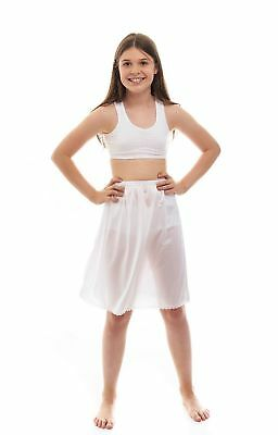 NEW Rosette Girls White Half Slip Size 16 Cling Free Nylon Material