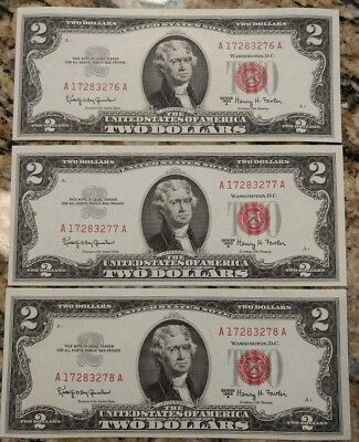 (3) CONSECUTIVE choice CU 1963A red seal $2 bills. Unc US Notes. A17283276-8A