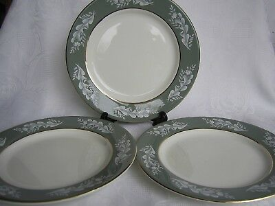 LORD NELSON WARE SET OF 3 DESSERT/SALAD  PLATES -GREEN,WHITE LEAVES c1969.