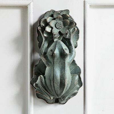 Rustic FROG LOTUS FLOWER DOOR KNOCKER Brass Bronze Finish Aluminum Nature Decor