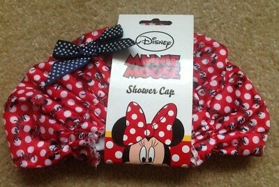 Disney Minnie Mouse Shower Cap Hat BNWT Spotted Polka Spot  Red White Bow