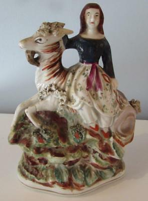 Antique 19thC Staffordshire Figurine of Girl Riding a Goat Circa 1860