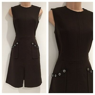 Vintage 60's Mod Scooter Chocolate Brown Wool Mix Pocket Detail Shift Dress 8