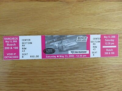 1996 New Hampshire Speedway NASCAR Racing BUSCH 300 & NORTH SERIES Full Ticket