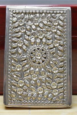 110g Purity 925 Sterling Silver Solid Hand Made Relievo Flower Cigarette Case