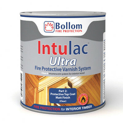 Bollom Intulac Ultra Top Coat Varnish For Timber Fire Resistant Paint Clear Matt