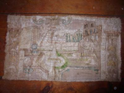 Interesting Antique Longstitch Tapestry Picture, Middle Eastern Religious Scene?