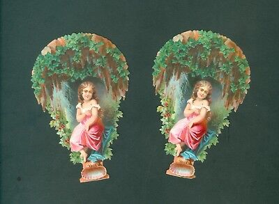 Victorian TWO Die Cut Scrap Very old  complet set   ORIGINAL GIRL