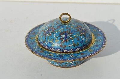 18/19 Century Original Antique Chinese Cloisonne Dish With Cover/lid