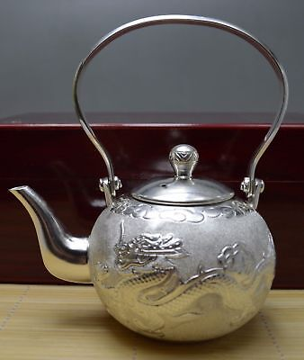 334 Gram Purity 990 Fine Silver Solid Hand Made Dragon Phoenix Tea Pot Signed