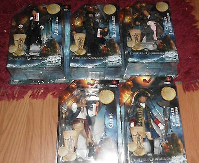 "pirates of the caribbean Stranger Tides 7"" figure set jack barbossa blackbeard"