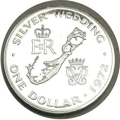 Bermuda 1 Dollar 1972 Proof  Silver  Silver Wedding Anniversary   Map