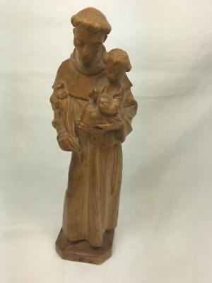 Vintage Italian Lepi Style Carved Wooden Figure Of St Anthony Of Padua
