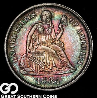 1884 Seated Liberty Dime, Beautiful Rainbow Toning, Lustrous Solid Gem BU++