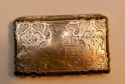 A beautiful solid silver georgian card case with castle scene