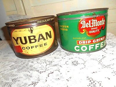 2-Vintage 1# Tin Coffee Cans With Original Lids- Yuban & Del Monte