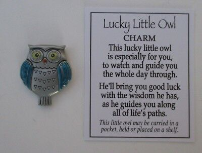 g Blue LUCKY LITTLE OWL POCKET TOKEN CHARM good luck wisdom graduate ganz