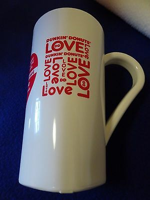 Dunkin' Donuts White Plastic Cup/mug-Hidden Heart-17 Oz. Capacity-Made Usa-New