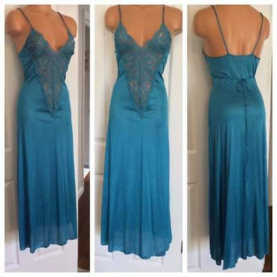 VTG INTERLUDES by CIRCA CANADIAN BLUE W/ LACE LONG NIGHTGOWN SZ S
