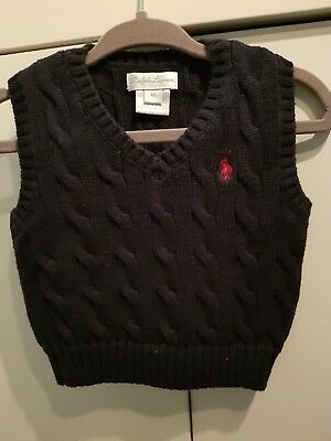 Ralph Lauren baby boys Navy cable knit tank top 6 months