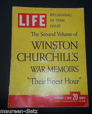 February 7, 1949 LIFE Magazine Complete COKE ad 40s Churchill FREE SHIPPING Feb.