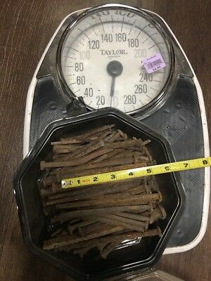 """5 lbs) ANTIQUE (1800'S)  SQUARE 4.5"""" LONG NAILS"""