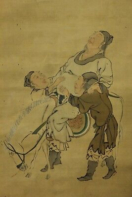 "Japanese Edo Hanging Scroll""chinese People""hand Painted By Gessen On Silk Feb218"