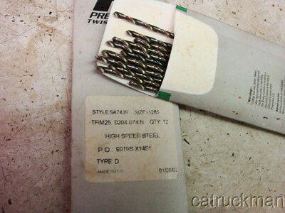 """.1285 dia. x 6"""" L., HSS, New 12 pack,  Aircraft Extension Drills from PTD"""