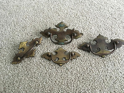 4 Vintage Brass drawer pulls w/ plates & mounting hardware dresser screws handle