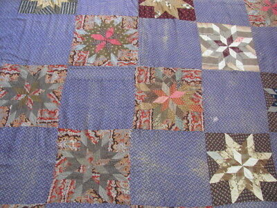 Beautiful late 1800's Star cotton quilt top hand stitched