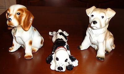 Lot of 3-Dog/Puppies Figurines(Nickknacks)-Assorted Breeds-Made of Porcelain