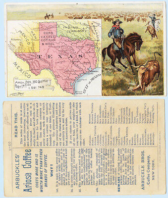 Arbuckle Coffee 1893 Ariosa Trade Card States Territories #66 Texas Map Cowboy
