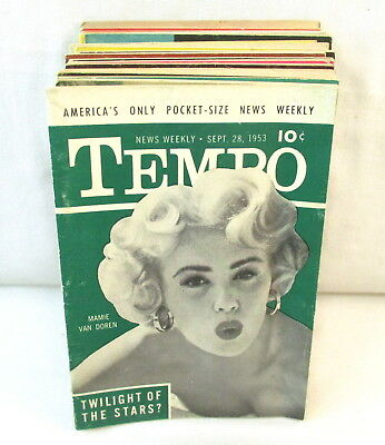 Lot Of 20 Vintage TEMPO Mini Mens Magazines 1950s Pocket Size Digest