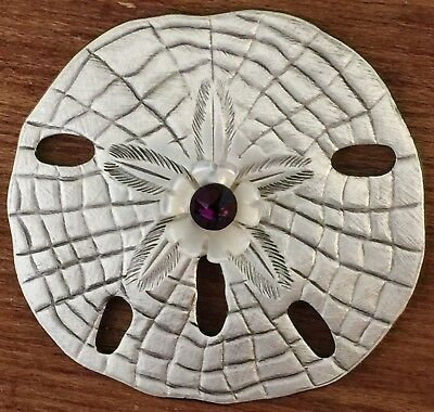 BEAUTIFUL SAND DOLLAR BUTTON~MOTHER OF PEARL AND PURPLE STONE~SILVERED Brass~2""