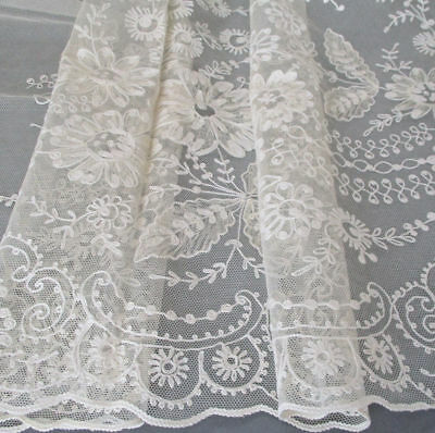 "Vintage Creamy French TAMBOUR LACE Panel Remnant Embroidered FLOWERS 49"" X 38"""