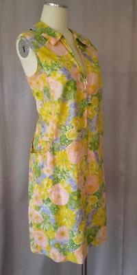 FAB FLORAL Vintage 1960s MOD COTTON ZIPFRONT SHIFT SUN DRESS - LRG / XL