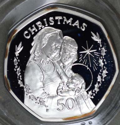 Gibraltar 1990 50 Pence Proof Silver Coin - Christmas - Only 5000 Minted