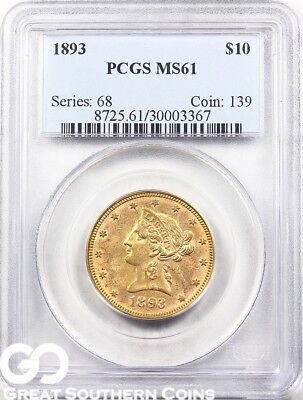 1893 Gold Eagle, $10 Gold Liberty PCGS MS 61 ** Free Shipping!