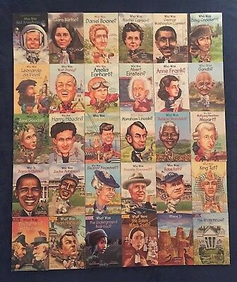 Lot of 30 Children's Books Educational: Who Was Who Is What Was Series - PBs