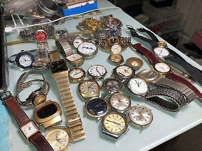 Large Lot Of 30 Wristwatches Mechanical & Quartz Men's & Wonem's 4Parts / Repair
