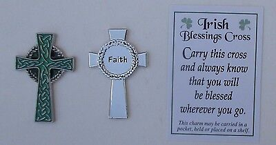 dd 1x IRISH BLESSING CROSS faith POCKET TOKEN CHARM celtic encourage good luck