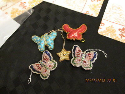 4 Victorian Style beaded stuffed Butterfly Christmas Ornament 1 star embroidered