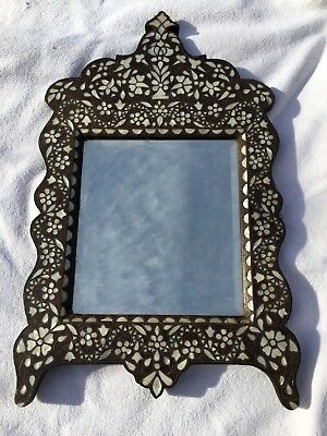 Ancien miroir Syrien, antique syrian mirror wood & mother of pearl 19th C rare
