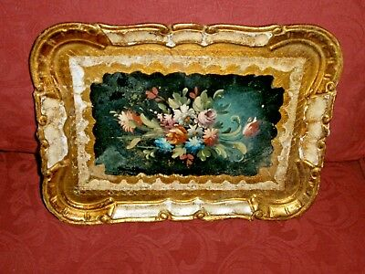 "Lovely Faded Elegance Florentine  Hand Painted Tray 11.5""x 8"""