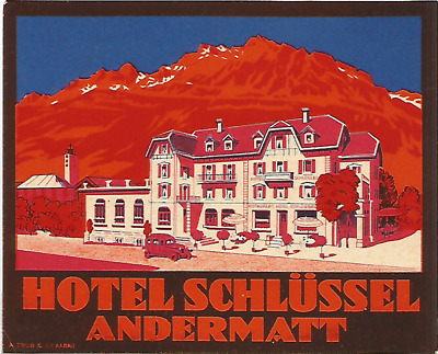 HOTEL SCHLUSSEL luggage DECO label (ANDERMATT)