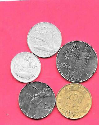 Italy Italian 5 Different 1954-1987 Pre-Euro Old Circ Coin Lot Collection Set