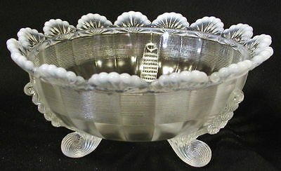 French Opalescent Glass Klondyke Pattern 3 Footed Bowl