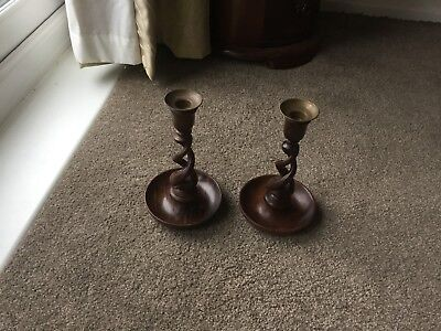 Pair Of Antique Wooden Barley Twist Candle Sticks